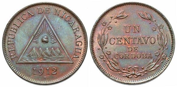 1 сентаво. 1912 год. Никарагуа. Бронза