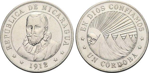 1 кордоба. 1912 год. Никарагуа. Серебро 900-й пробы, 25 г. На реверсе – девиз «EN DIOS CONFIAMOS» («В Бога мы верим»)
