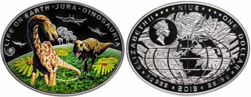 Монета Ниуэ, посвященная динозаврам, жившим на суше