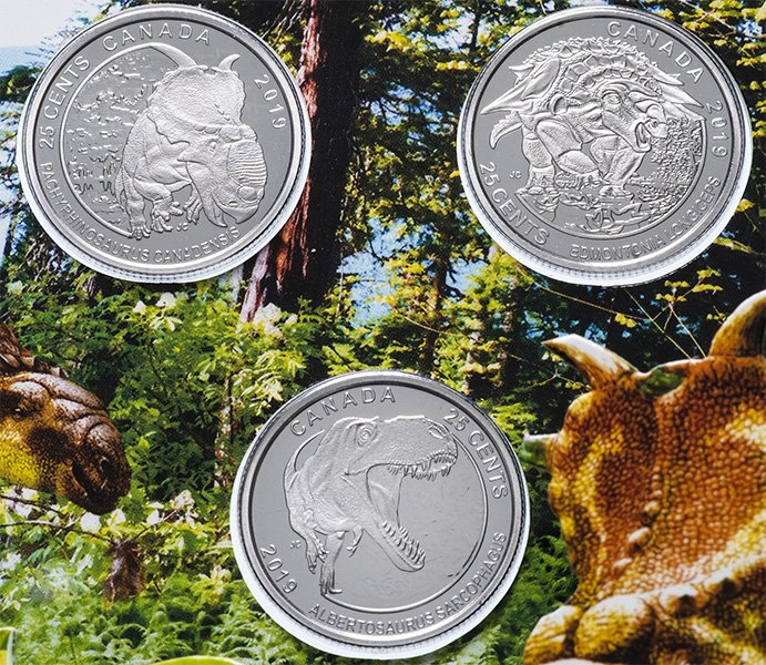 Канадские монеты 2019 года с изображением динозавров