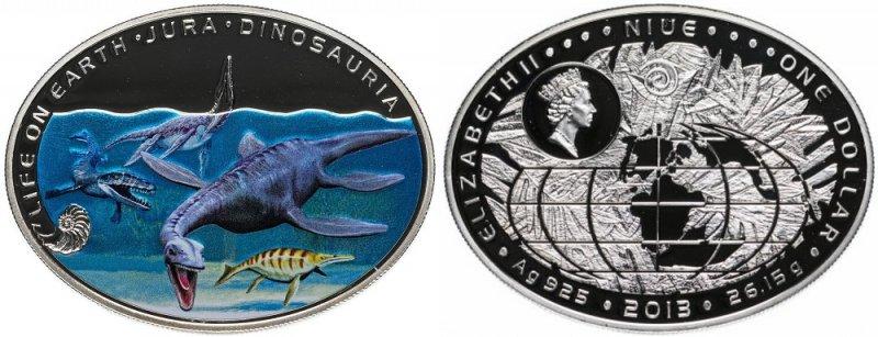 Монета Ниуэ, посвященная динозаврам, жившим в воде