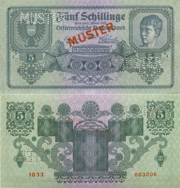 5 шиллингов Выпущена: 2 января 1925. Цвет: зеленый. Аверс: Портрет юноши работы художника Э. Цвиауэра. Реверс: номинал. 5 shillinge.