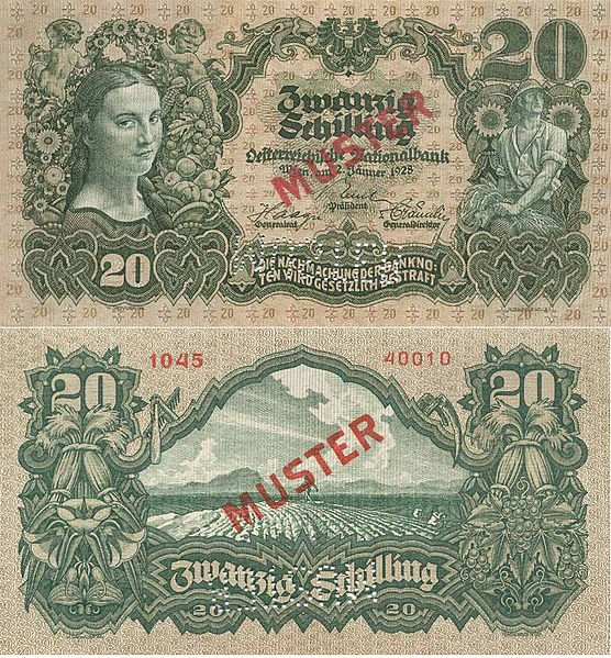 20 шиллингов. Выпущена: 2 января 1928. Цвет: зеленый. Аверс: Портрет девушки (слева), изображение крестьянина (справа). Реверс: Крестьянин в поле. 20 SCHILLING