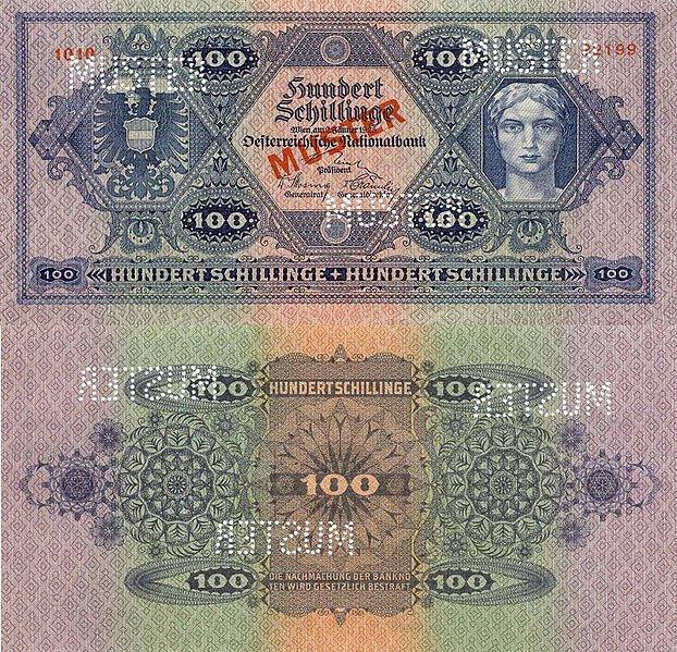 100 шиллингов. Выпущена: 2 января 1925. Цвет: Сине-фиолетовый на зелёном фоне. На реверсе полоски зеленого и оранжевого цвета. Аверс: Портрет женщины (справа). Реверс: номинал. 100 SCHILLING