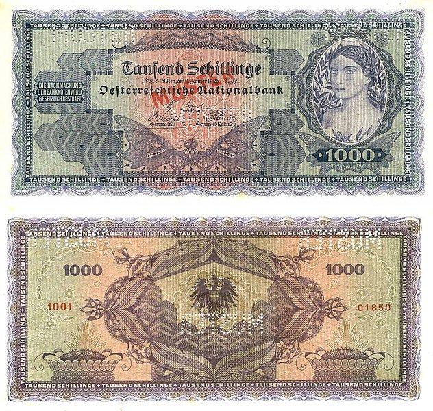 1000 шиллингов. Выпущена: 2 января 1925. Цвет: Синий на зелёном и красно-коричневом фоне. Аверс: Портрет женщины (справа). Реверс: номинал. 1000 SCHILLING. Одноглавый орел