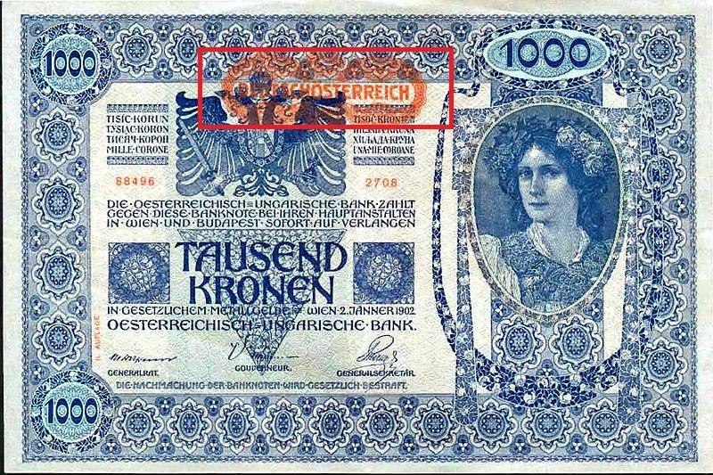 1000 крон образца 1902 года с надпечаткой 1919 года