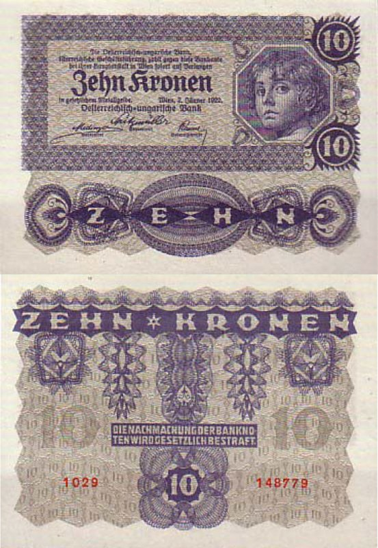 Австрийская крона 1922 г. 10 крон