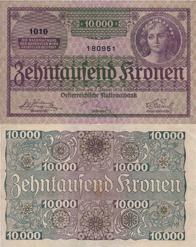 Австрийская крона 1924 г. 10 000 крон