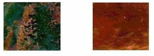 Реакция ацетона с медью при наличии света (фото слева) и без света (фото справа)