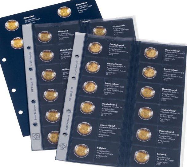 Листы для памятных монет 2 евро с информационными вкладышами