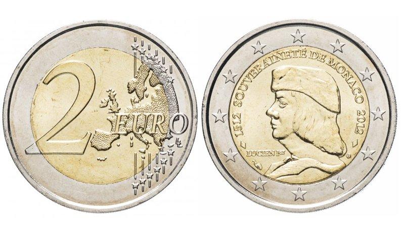 2 евро 2012 года «500 лет суверенитету Монако»