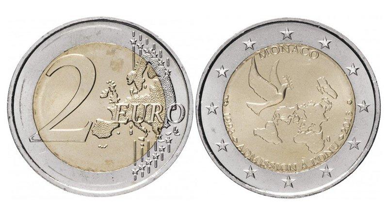 2 евро 2013 года «20 лет со дня вступления Монако в ООН»