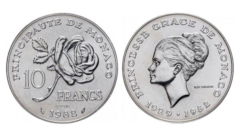 10 франков 1982 года «Смерть принцессы Монако Грейс Келли»