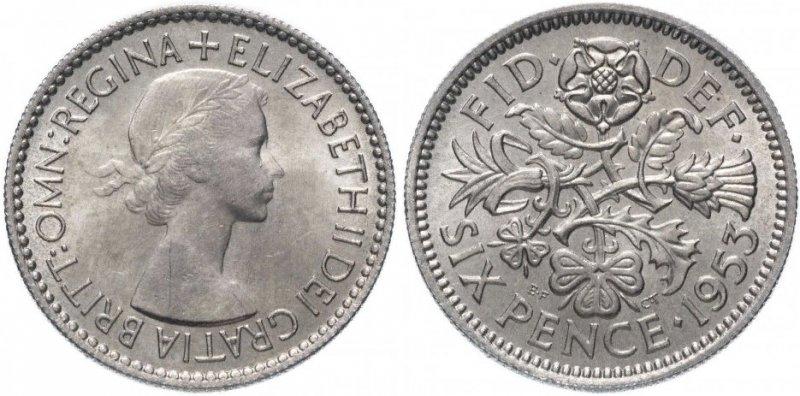 Шесть пенсов 1953 года с портретом авторства Мэри Гиллик. Диаметр 23.59 мм. Мельхиор. Вес 2,83 г. На нижней кромке портрета инициалы автора «MG» - Mary Gillick