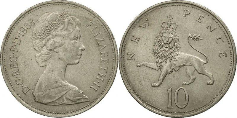 Десять пенсов 1968 года с портретом авторства Арнольда Машена (не ставил свои инициалы на портрет). Диаметр 28.50 мм. Медно-никелевый сплав. Вес 11.33 г