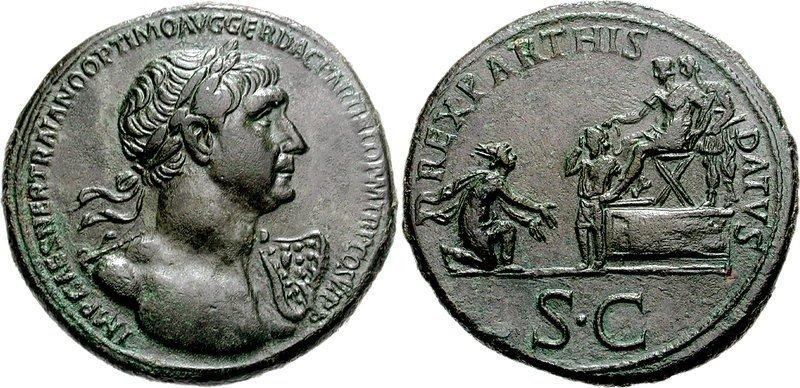 Римский сестерций времен императора Траяна