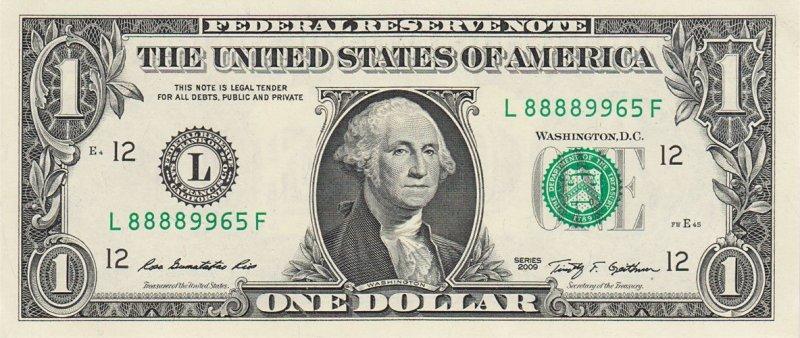 Аверс однодолларовой купюры