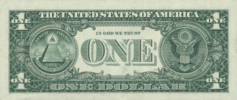 Реверс однодолларовой купюры