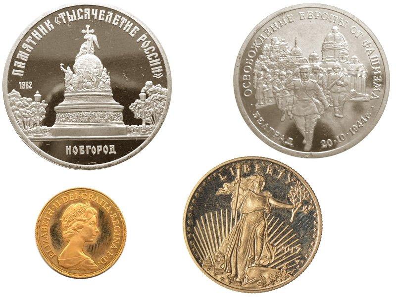 Полированные монеты различной степени сохранности