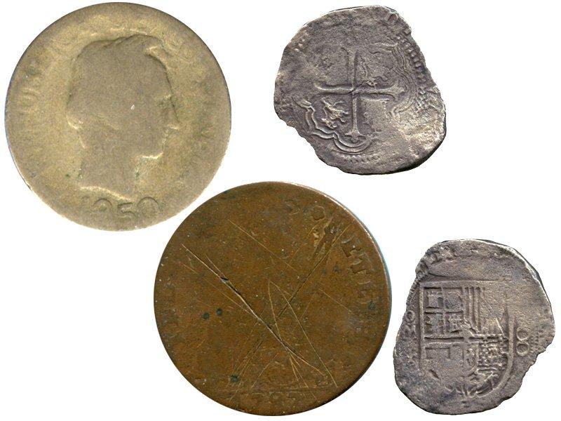Монеты с сильными повреждениями