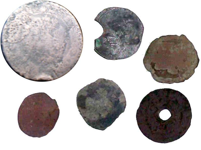 Практически разрушенные монеты