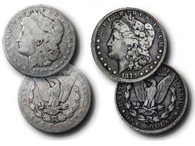 Пример монет, чья сохранность контрастирует друг с другом