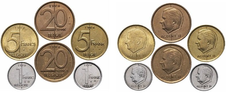 Циркуляционные монеты Бельгии 1994-2001 гг.