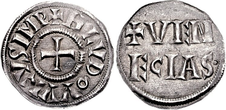 Серебряный денарий периода правления Людовика I Благочестивого