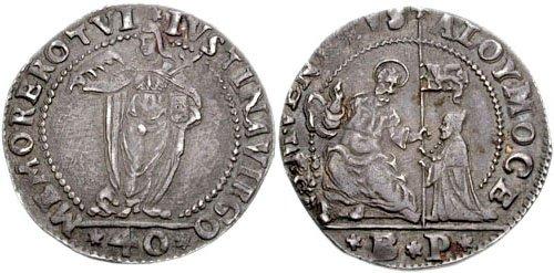 Джустина, номинал 40 сольдо. 1574 год