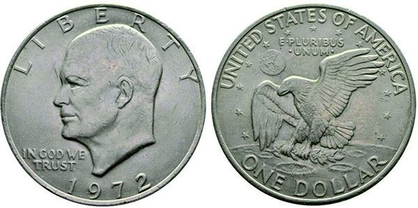 """""""Доллар Эйзенхауэра"""" или """"Лунный доллар"""" с изображением на реверсе монеты белоголового орлана, приземляющегося на поверхность Луны"""