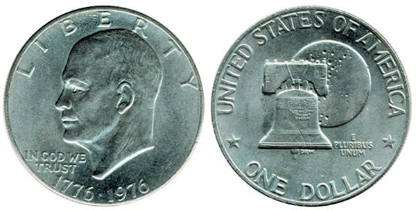 """""""Доллар Эйзенхауэра"""" или """"Лунный доллар"""" с изображением на реверсе монеты Колокола Свободы на фоне Луны"""