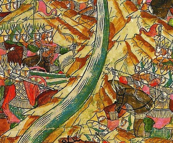 «Стояние на Угре». Миниатюра Лицевого Летописного Свода. XVI век