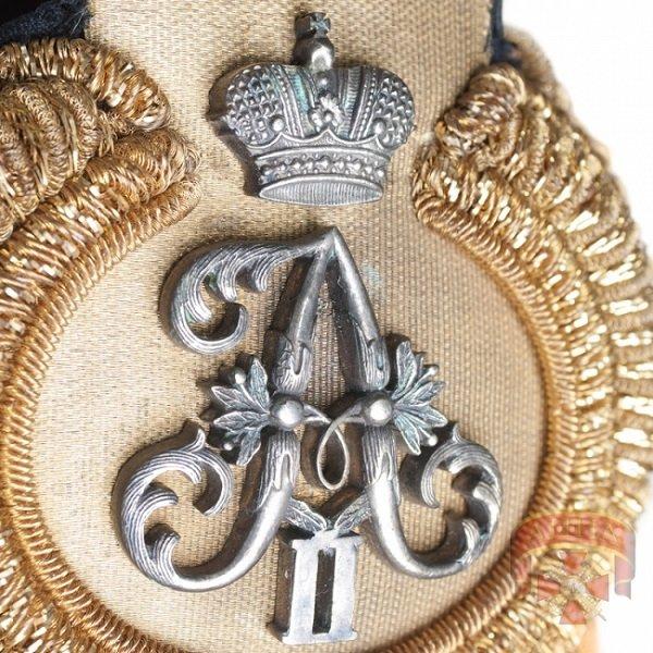 Вензель Александра II на эполетах капитана 1 ранга