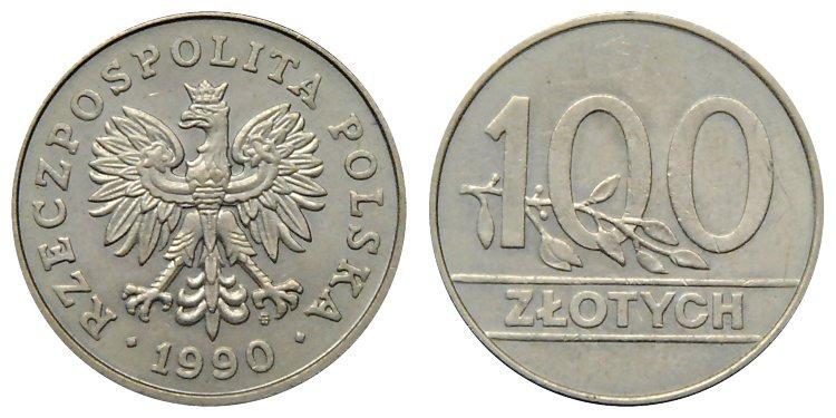 100 злотых 1990 года