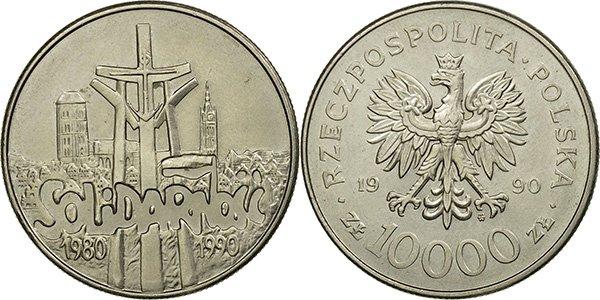 """10 000 злотых  1990 года """"Солидарность"""""""