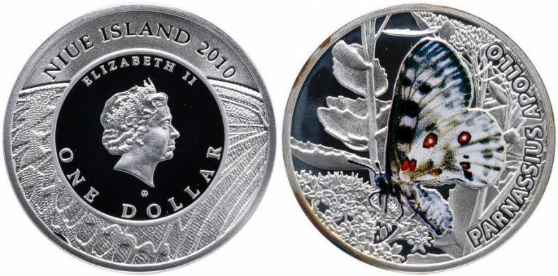 Серебряная монета «Мир бабочек – Аполлон», номинал 1 доллар, Ниуэ, 2010 год