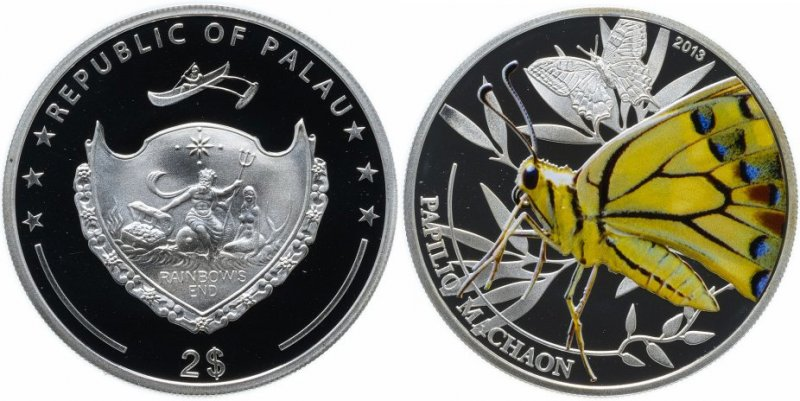 Серебряная монета «Мир насекомых – Бабочка махаон», номинал 2 доллара, Палау, 2013 год