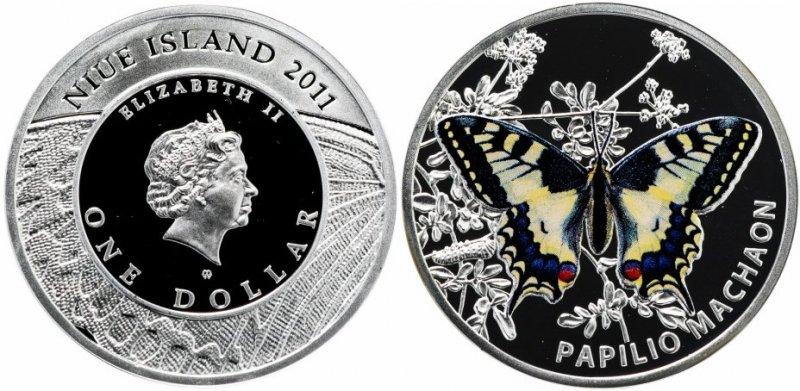 Серебряная монета «Мир бабочек – Махаон», номинал 1 доллар, Ниуэ, 2011 год