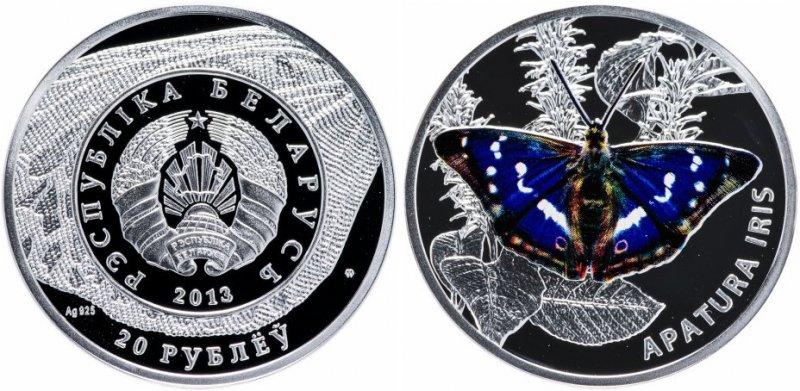 Серебряная монета «Бабочки – Переливница ивовая», номинал 20 рублей, Беларусь, 2013 год