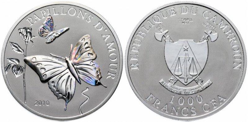 Серебряная монета «Мир бабочек – бабочка любви», номинал 1000 франков, Камерун, 2010 год
