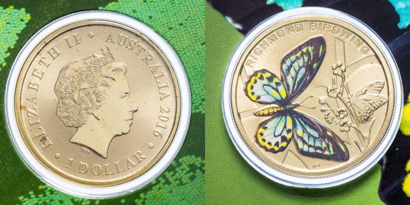 «Птицекрыл Ричмонда» (алюминиевая бронза), номинал 1 доллар, Австралия, 2016 год