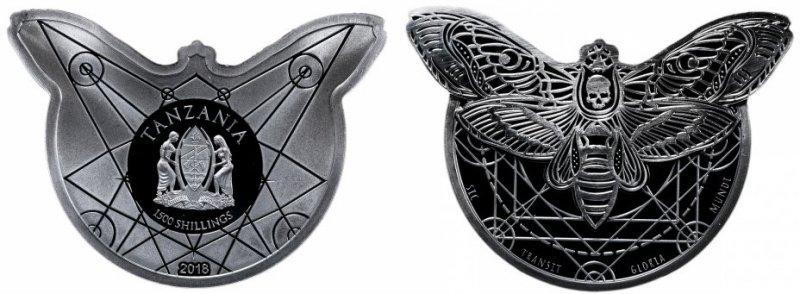 Серебряная монета «Бабочка мертвая голова», номинал 1500 тысячи шиллингов, Танзания, 2018 год