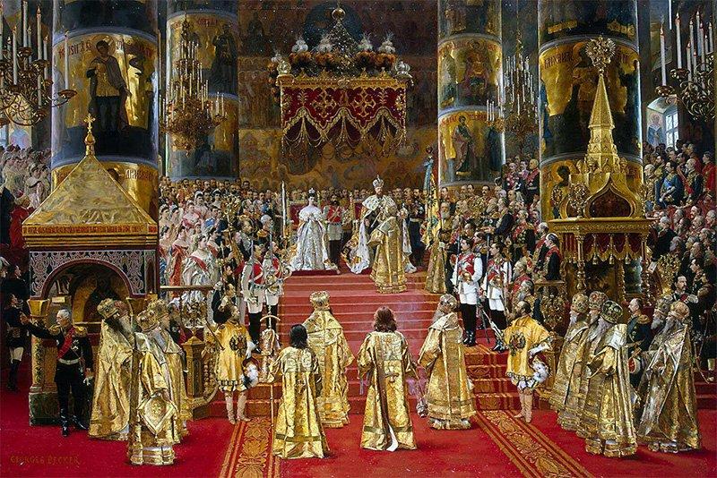 Жорж Беккер «Коронация императора Александра III и императрицы Марии Фёдоровны»