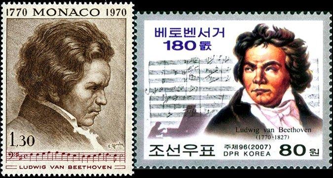 Марки с портретом Бетховена, Монако (слева) и КНДР (справа)