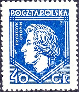 Польша, 1927 год. Марка, выпущенная в честь 1 Варшавского Шопеновского конкурса