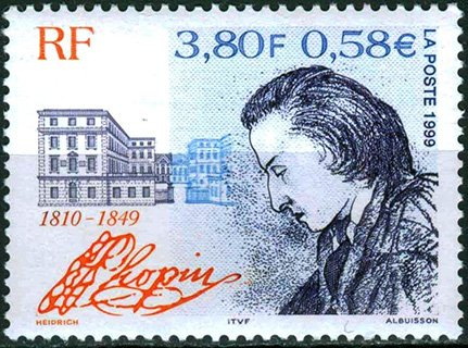 Французская марка с портретом Шопена работы Жорж Санд, 1999 год