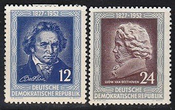 ГДР, 1952 год, 125 лет со дня смерти композитора Людвига ван Бетховена
