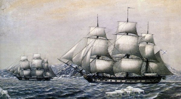 Шлюпы первой русской антарктической экспедиции «Восток» и «Мирный»