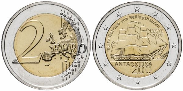2 евро «200-летие открытия Антарктиды», Эстония, 2020 год