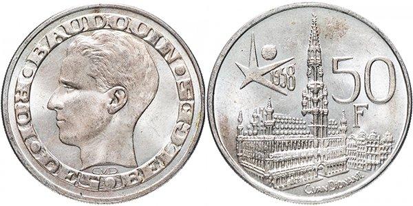 50 франков «Международная выставка ЭКСПО 1958 в Брюсселе», 1958 год